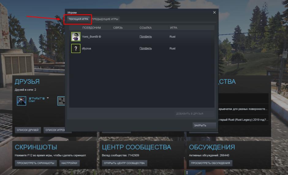 Rust как посмотреть игроков на сервере