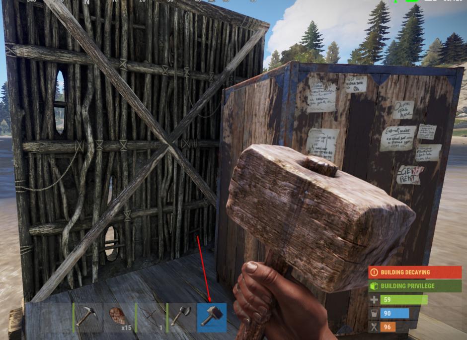 Как убрать постройку в Rust 1